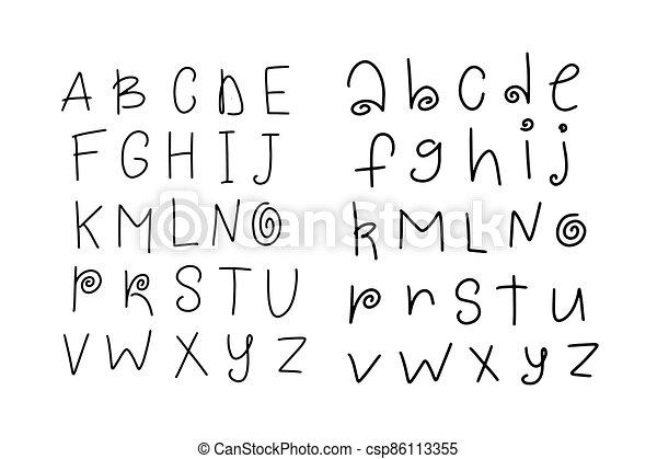 Vector funny cartoon hand drawn marker alphabet. Kid - csp86113355
