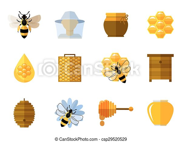 Vector honey and bee icons in flat set - csp29520529