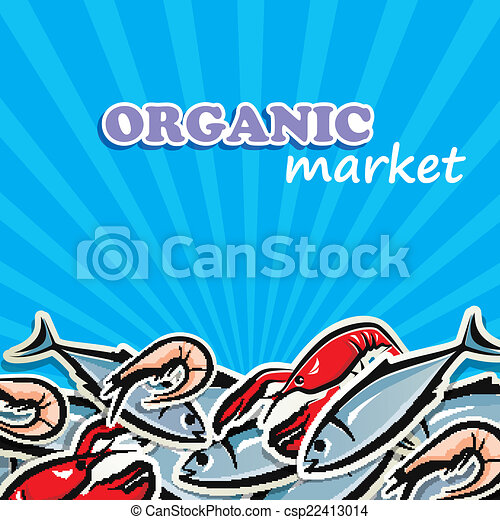 vector illustration of seafood. organic food concept - csp22413014