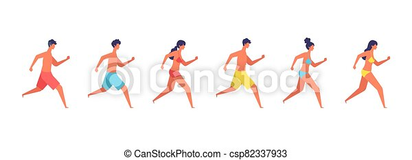 Vector illustration of summer people are running. - csp82337933