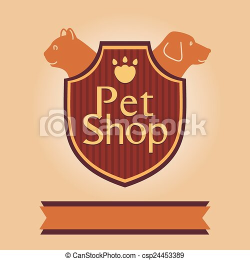 Vector logo for a pet store in heraldic style. Accessories for pets. Dog and cat - csp24453389