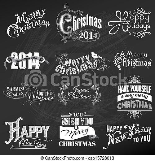 Vector Set: Christmas Calligraphic Design Elements and Page Decoration, Vintage Frames - csp15728013