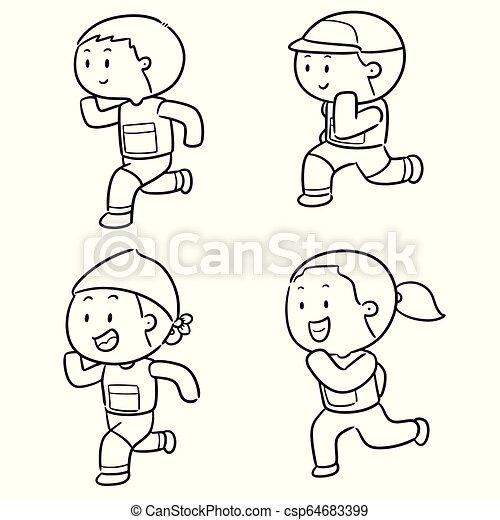 vector set of people running - csp64683399
