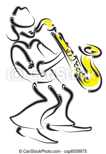 vector stylized saxophone and musician - csp6558975