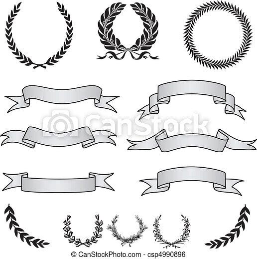 Vector Wreaths and Banner Set - csp4990896