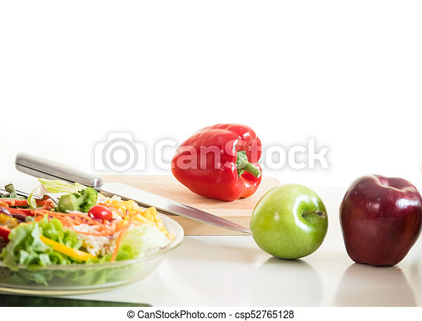 Vegetables and fruit on chopping board, food ingredient ready for cooking - csp52765128