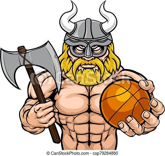 Viking Basketball Sports Mascot - csp79284880