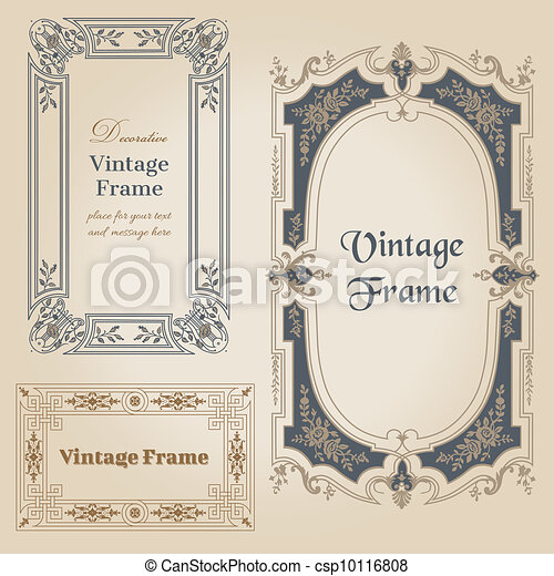 Vintage frames and design elements - with place for your text - in vector - csp10116808