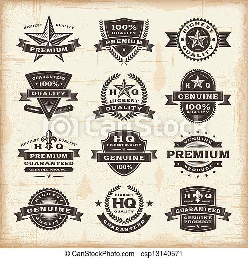 Vintage premium quality labels set - csp13140571