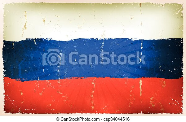 Vintage Russian Flag Poster Background - csp34044516