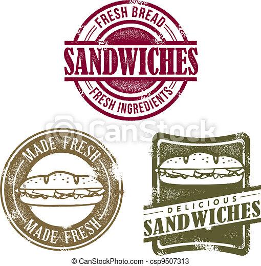 Vintage Sandwich Deli Stamps - csp9507313