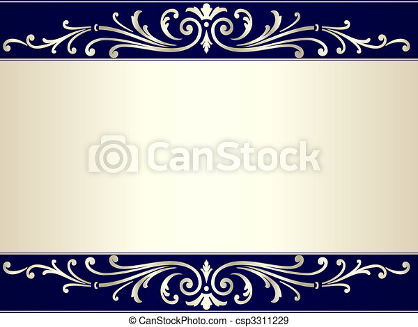 Vintage scroll background in silver beige and blue - csp3311229
