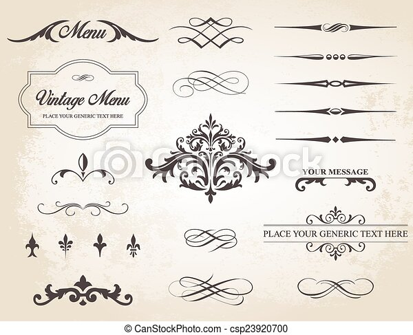 Vintage Vector Label Page Dividers and Borders - csp23920700