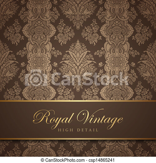Vintage wallpaper design. Flourish background. Floral pattern. - csp14865241