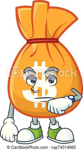 Waiting bag of money on white background - csp74314565