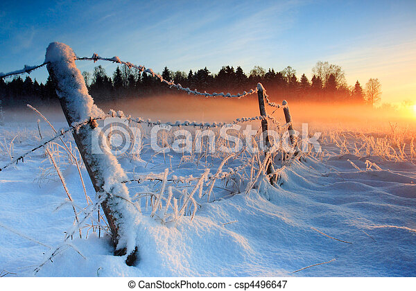 Warm cold winter sunset - csp4496647