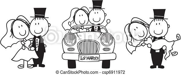 wedding cartoon invitation - csp6911972