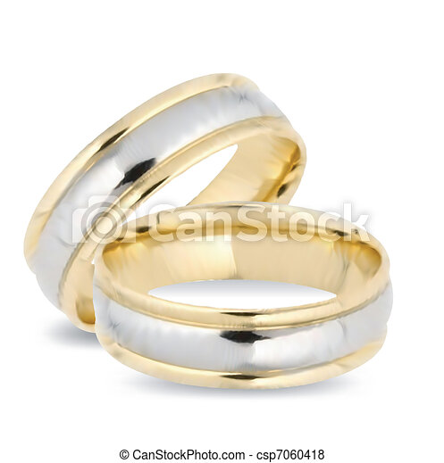 Wedding gold rings. Vector - csp7060418