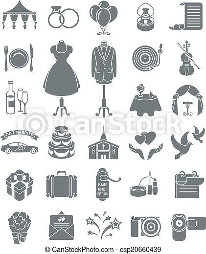 Wedding Icons Dark Silhouettes - csp20660439