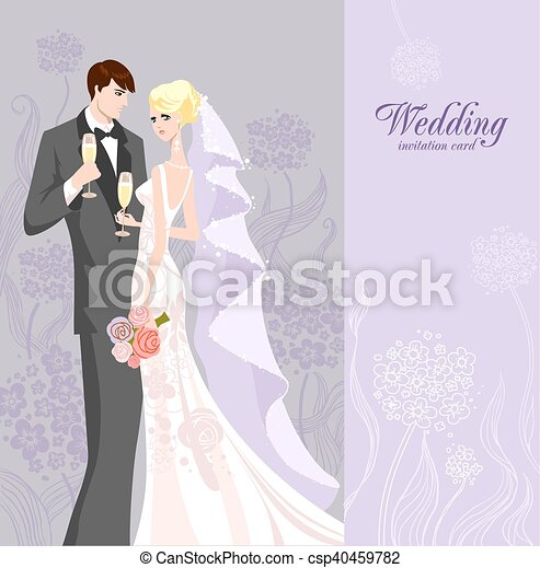 Wedding invitation with bride and groom - csp40459782