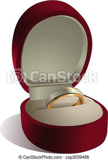 Wedding ring in box - csp3039486