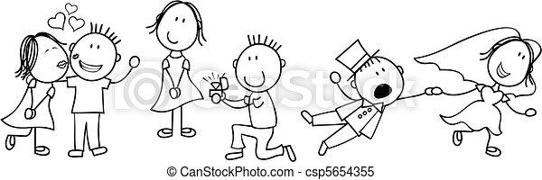 wedding story board cartoon - csp5654355