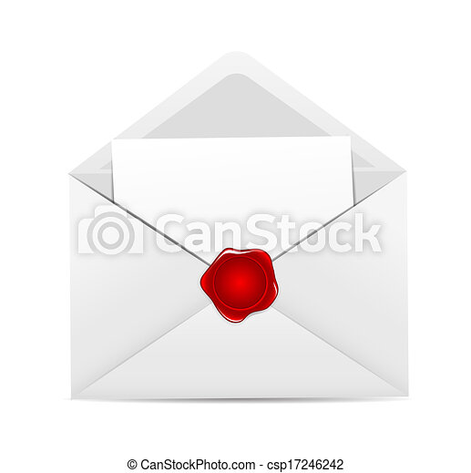 White Envelope Icon with Red Wax Seal Vector Illustration - csp17246242
