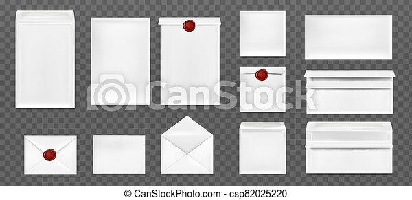 White envelopes with red wax seal - csp82025220