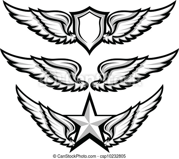Wings and Badge Emblem Vector Images - csp10232805
