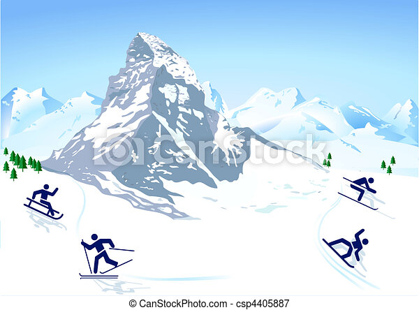 winter sports in the mountains - csp4405887