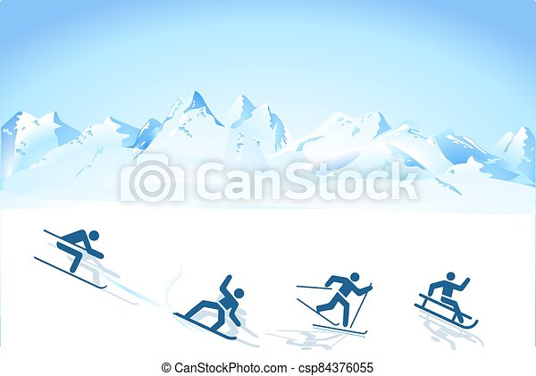 winter sports in the mountains.eps - csp84376055