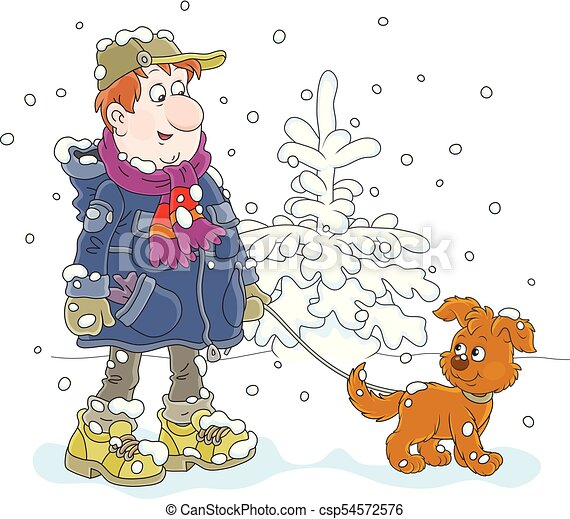 Winter walk with a dog - csp54572576