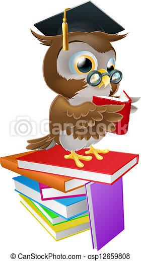 Wise owl reading - csp12659808