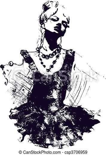 woman dancer illustration - csp3706959