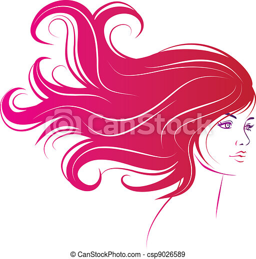 woman face with long black hair - csp9026589