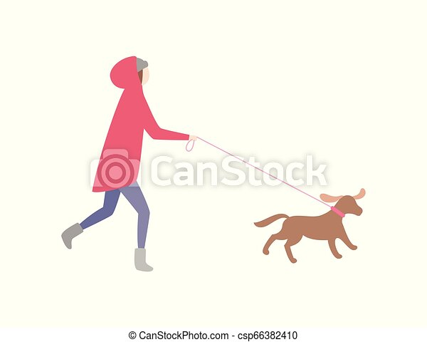 Woman Running with Dog on Leash Pet and Owner - csp66382410