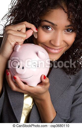 Woman Saving Money - csp3680110