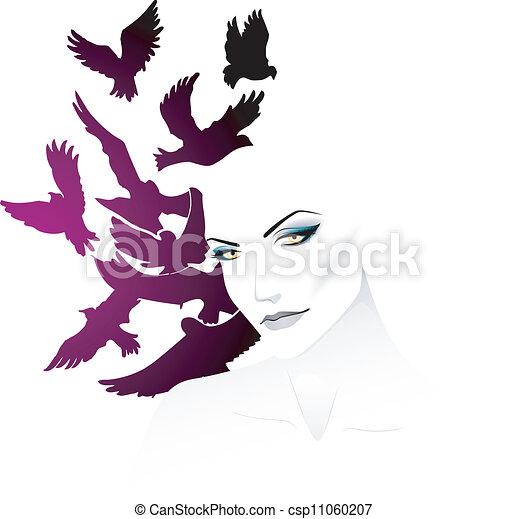 Woman with bird - csp11060207
