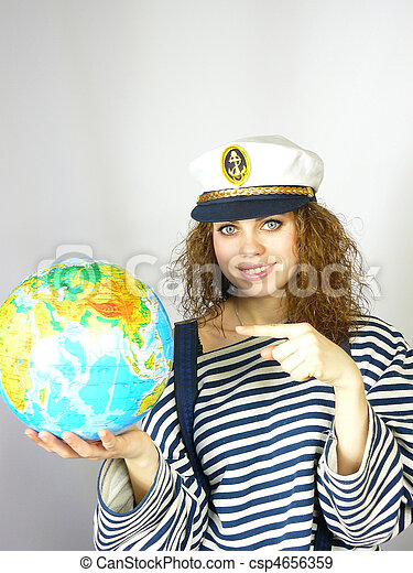 woman with the globe in hands - csp4656359