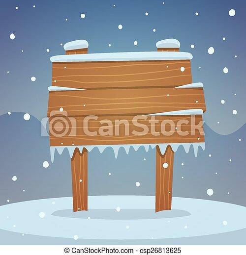 Wooden board in snow - csp26813625
