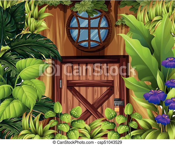Wooden house in the woods - csp51043529