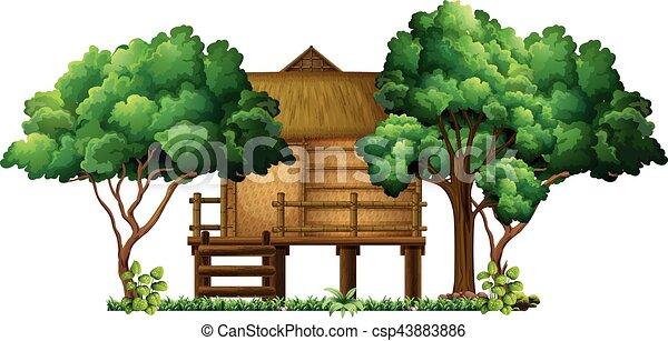 Wooden hut in the woods - csp43883886