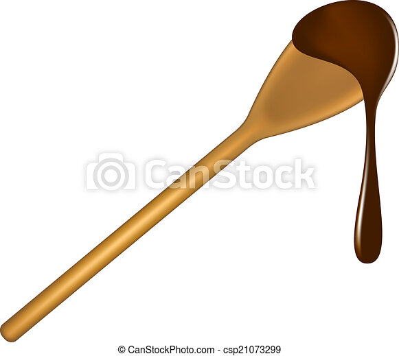 Wooden spoon with chocolate - csp21073299