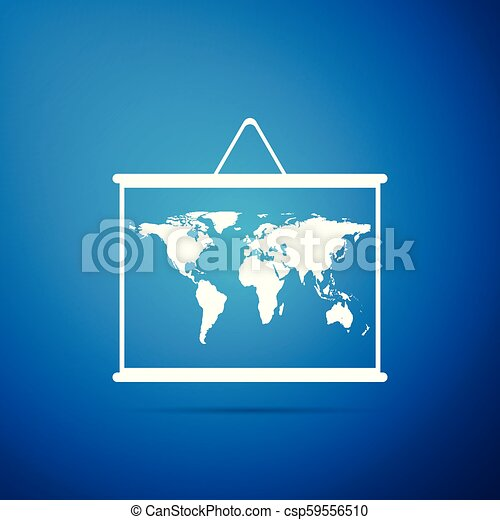 World map on a school blackboard icon isolated on blue background. Drawing of map on chalkboard. Flat design. Vector Illustration - csp59556510