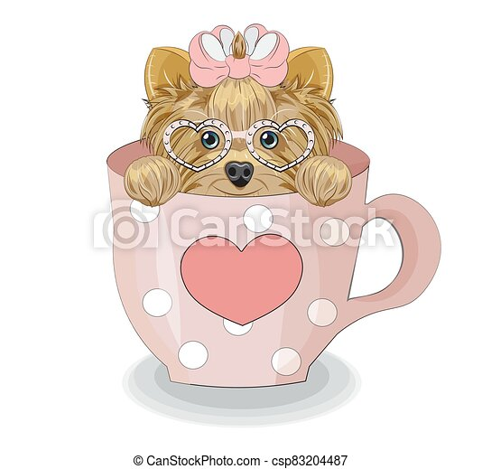 Yorkshire terrier dog in cup - csp83204487